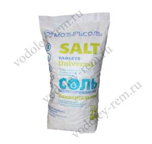 Таблетированная соль 25 кг (МОЗЫРЬСОЛЬ)